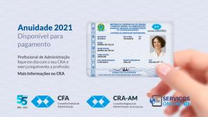 Anuidade 2021 CRA-AM disponível para pagamento